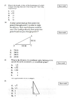 Unit 9 Test on Pythagorean Theorem and Applications