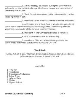 Unit 9- The Civil War Vocabulary Quiz