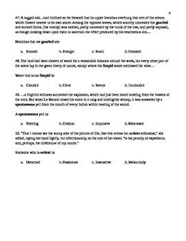 Unit 9 Vocabulary Test based on Orange Sadlier Workbook Level E