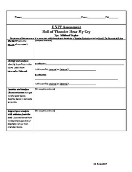 Unit Assessment (PARCC Modeled) (Roll of Thunder, Her My Cry)