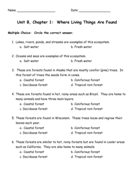 Unit B, Chapter 1 Where Living Things are Found
