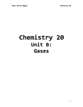 Chem 20 Unit B Gases Workbook