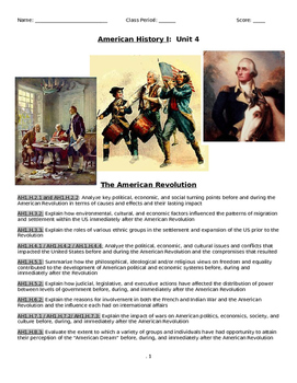 Unit Booklet - American Revolution