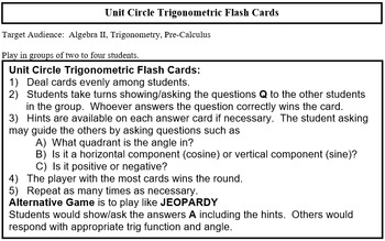 Unit Circle Flash Cards