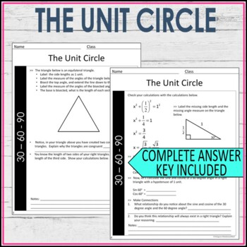 Unit Circle Guided Notes High School Math