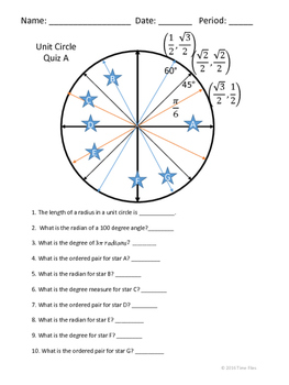 Unit Circle Quiz - 4 Versions with Keys