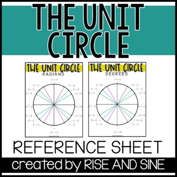 Unit Circle Reference Sheet by Piece of Pi Math | TpT