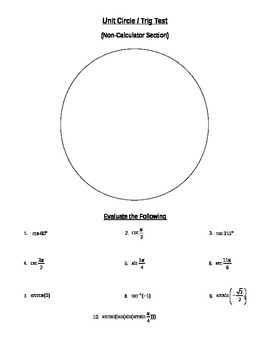 Unit circle trigonometry teaching resources teachers pay teachers unit circle trig test unit circle trig test fandeluxe Gallery