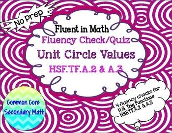 Unit Circle Trig Values Fluency Check / Quiz: No Prep Fluent in Math Series