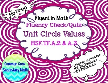Unit Circle Trig Values Fluency Check / Quiz: No Prep Fluent in Math Series
