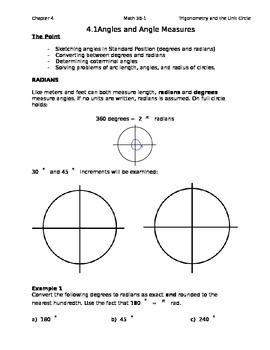 4.1 Class Notes for Unit Circle Unit (Editable)
