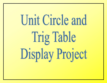 Unit Circle and Trig Table Display Project