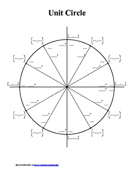 Unit Circle - blank and completed by solutionstomath | TpT