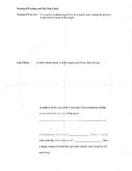 Unit Circle blank plain review template outline guided notes standard position
