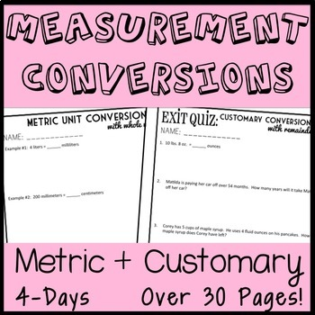 Unit Conversion 4-Day Measurement Bundle, Customary + Metric Lesson Packets