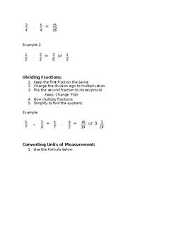 Unit Conversion, Decimal, & Fraction Study Guide