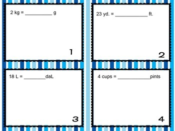Unit Conversion Task Cards or Scoot Game - Metric and Customary