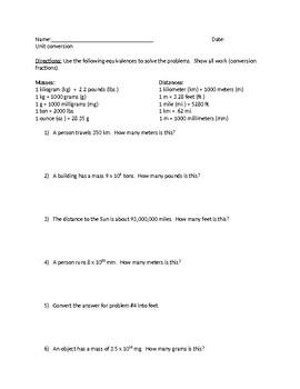 Unit Conversion (w/ scientific notation)