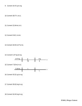 Unit Conversion with Dimensional Analysis - Backwards Faded Example Worksheet