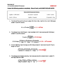 Unit Conversions, Dimensional Analysis, and Scientific Notation Worksheet