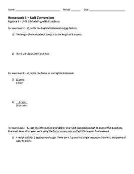 Unit Conversions Homework and Conversion Page