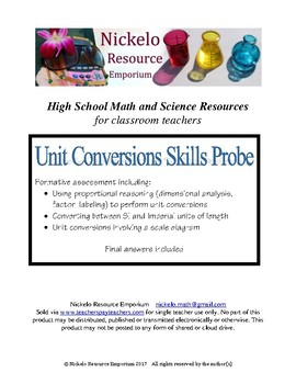 Unit Conversions Skills Probe