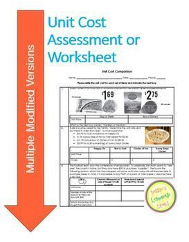 Unit Cost Comparison Assessment with two Differentiated Versions