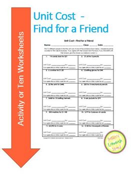 Unit Cost - Find for a Friend - Fun Activity or 10 Worksheets
