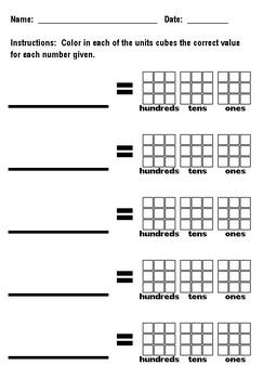 Unit Cubes Worksheet, 3-Digit