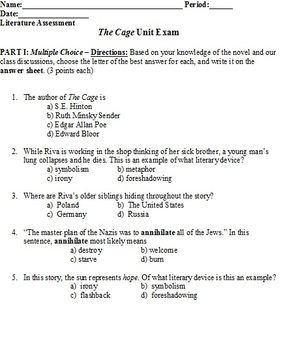 Unit Exam for the novel The Cage, by Ruth Minsky Sender
