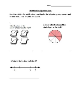 Unit Fraction Equation Quiz