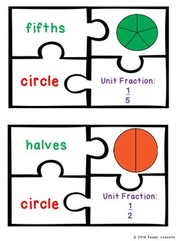 Unit Fraction Partitioning Shape Game Puzzle Equal Part Sort 1.G.3, 2.G.3, 3.G.2
