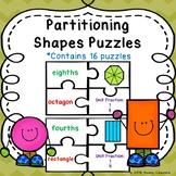 Unit Fraction Partitioning Shape Game Puzzle Equal Part Sort 1.G.3, 2.G.3, 3.G.2