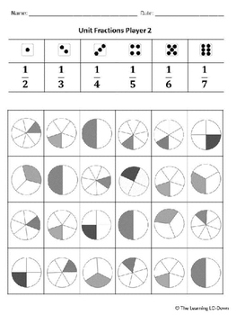 Unit Fractions Dice Game