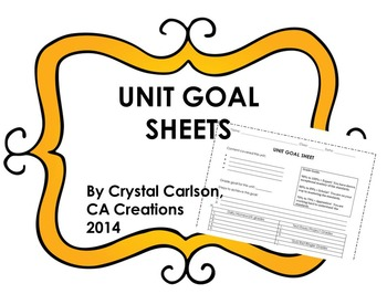 Unit Goal Sheets for ANY Content Area!