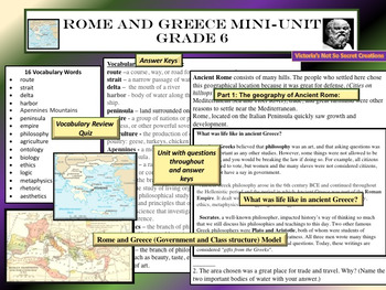 Unit Grade 6 Rome and Greece with Test and  Interactive Notebook