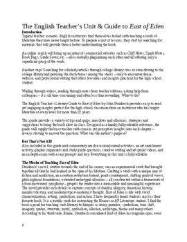 Unit & Guide to East of Eden (John Steinbeck) -- commentary, quizzes, GOs, exam