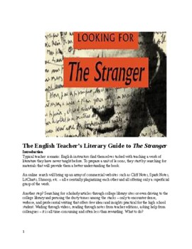 Unit & Guide to The Stranger (Albert Camus)