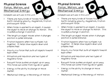 Unit Introductions for Science Journals for 5th grade
