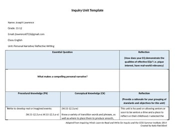 Unit Lesson Plan: Personal Narrative