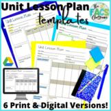 Unit Lesson Plan Template Editable Print or Google Slide