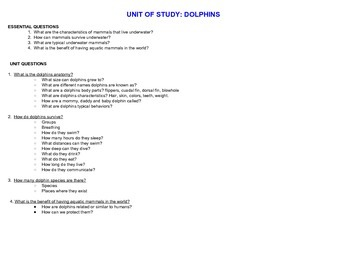 GIFTED AND TALENTED-Unit Of Study: Dolphins
