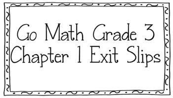 Unit One Exit Slips Go Math Grade 3