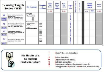 Unit Organizer for Holt Geometry chapter 3