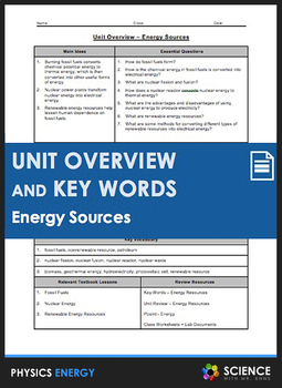 Unit Overview & Key Words - Energy Sources Unit