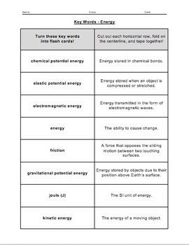 Unit Overview & Key Words - Energy Unit