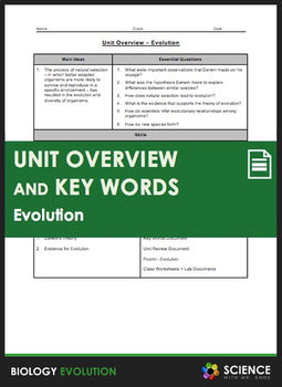 Unit Overview & Key Words - Evolution and Natural Selection