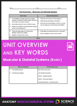 Unit Overview & Key Words - Muscular & Skeletal Systems
