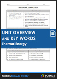 Unit Overview & Key Words - Thermal Energy Unit