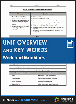Unit Overview & Key Words - Work and Machines Unit